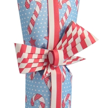 Bottle wrapped in double sided Christmas paper