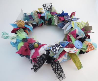 Wreath with fabric and buttons