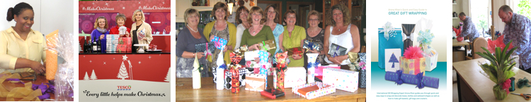 A course attendee, Arona with Linda Barker and the Tesco wine buyer, ladies at a girly get-together, Arona's gift wrapping DVD, a man wrapping on a course