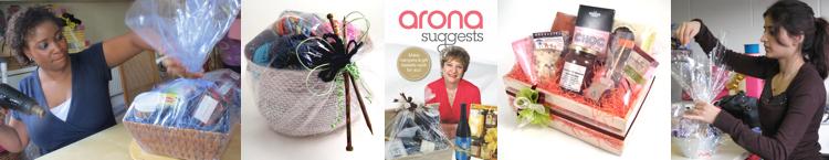 A lady using a heat gun, a wool-themed gift basket, a hamper & gift basket DVD, a chocolate hamper, a course attendee