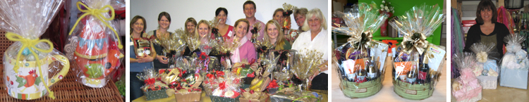 Wrapped mugs, a group with wrapped hampers, two hampers, a lady with gift baskets