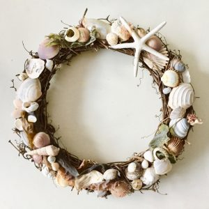 Willow wreath decorated with seashells