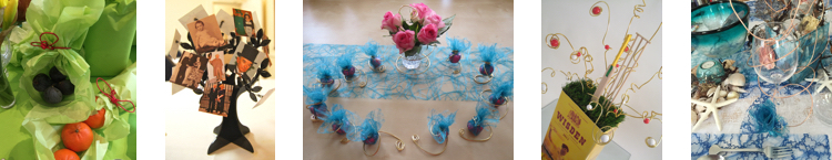 Wrapped food, a photo tree, party favours, a table centrepiece, sea-themed table setting