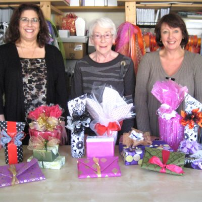 Attendees at a gift wrapping course