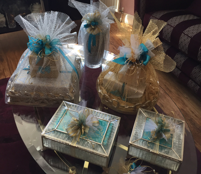 Gifts wrapped for a Coptic Christian betrothal ceremony
