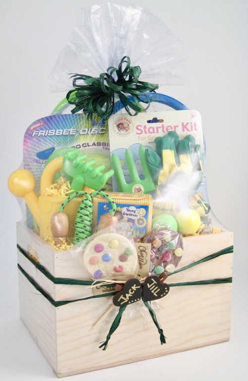 Shrink wrapped toy gift basket in a cellophane basket bag