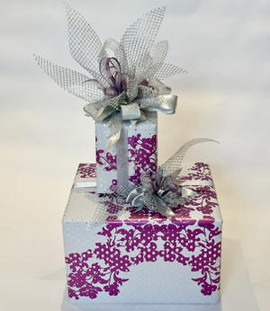 2 wrapped boxes with bows
