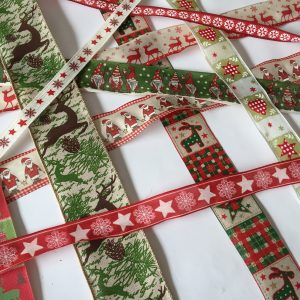 20m Pack of assorted fabric Christmas ribbons