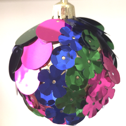 Christmas bauble covered in sequins