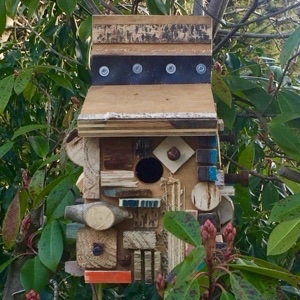 Bird box made from upcycled scrap materials