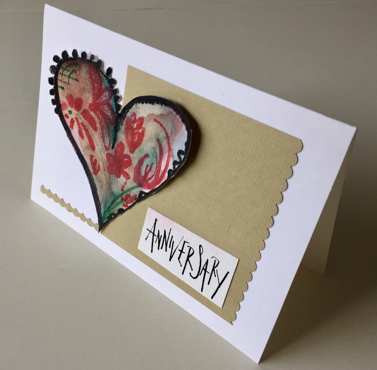 Handpainted handmade anniversary card